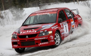 Picture Red, Snow, Race, Mitsubishi, Lancer, Evolution, Rally