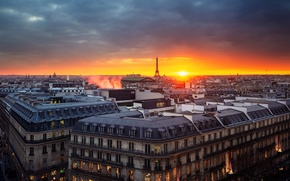 Picture the sky, sunset, Paris, tower, home, the evening, panorama, France