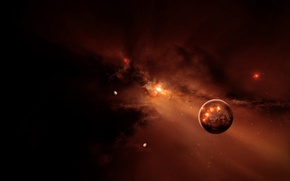Picture space, nebula, planet, flash, stars