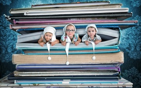 Picture background, girls, books