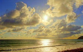 Picture sea, the sun, clouds, nature, photo, coast, CA, Malibu