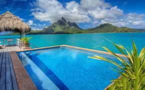 Picture pool, hotel, bungalow, blue lagoon, bora-bora, St-Regis