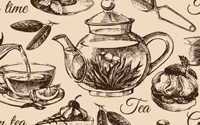 Picture texture, texture, tea set, kettle set