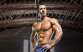 Picture bodybuilder, pose, muscles, abs, pecs