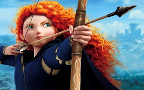 Picture girl, bow, arrow, red, brave, merida