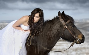 Picture hair, horse, Girl, dress