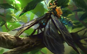Picture branch, fairy, art, insect, rider, forest, leaves
