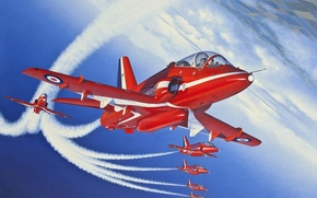 Wallpaper the plane, figure, UK, red arrows, training, Royal air force, the red arrows, BAe Hawk ...