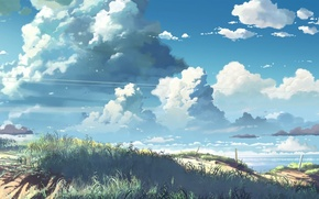 Picture the sky, grass, Shore, thick clouds