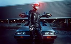 Picture car, music, light, silver, black, Daft Punk, Man, led, Leather, delorean