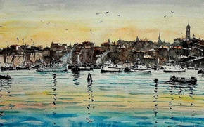 Wallpaper sea, picture, boat, watercolor, Maximilian DAmico, landscape, the city