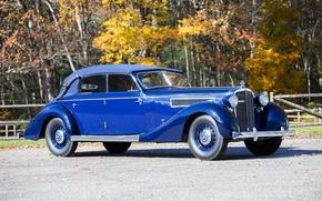 Picture autumn, blue, retro, Maybach, autumn, 1938, Cabriolet, SW38
