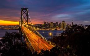 Picture road, water, night, bridge, the city, lights, Strait, building, home, skyscrapers, excerpt, lighting, lights, CA, …