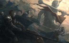 Wallpaper army, banner, war, giant, weapons