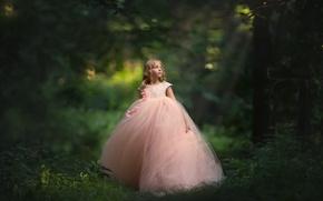 Wallpaper girl, dress, bokeh, forest