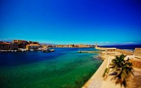 Picture lighthouse, Bay, yacht, Greece, fortress, tilt-shift, dobraatebe, Crete