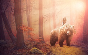 Picture forest, fantasy, the situation, girl. bear