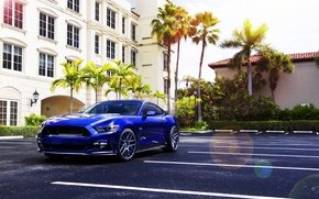 Picture Mustang, Ford, Muscle, Car, Blue, Front, Sun, Summer, Wheels, 2015, Velgen