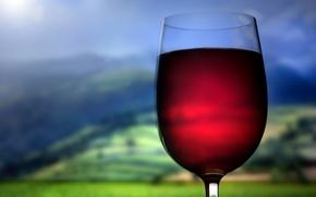 Picture wine, red, hills, glass, drink
