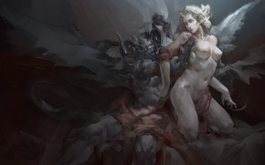 Picture girl, wings, angel, the demon, art