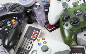 Picture plastic, retro, buttons, controls consoles, different companies