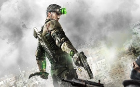 Picture clouds, gun, weapons, home, shot, knife, machine, agent, terrorist, equipment, sleeve, Sam Fisher, Sam Fisher, ...