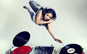 Picture headphones, remote, vinyl, record, girl