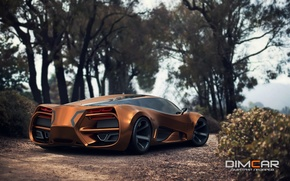 Wallpaper Concept, Car, Lada, Gold, 2014, Rear, Raven, by Dmitry Lazarev
