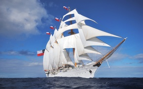 Picture waves, ocean, Chilean masted barquentine
