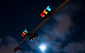 Picture the sky, night, the city, traffic light