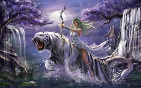Picture girl, trees, night, tiger, jump, bow, waterfalls, elf, WarCraft, Tyrande Whisperwind