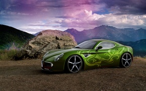 Wallpaper rainbow, rays, mountains, car, airbrushing, Photoshop, tuning, stone, the sky, sports
