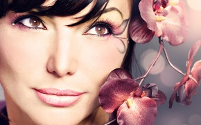 Picture girl, flowers, Orchid
