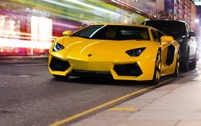 Picture night, the city, yellow, street, Lamborghini, LP700-4, Aventador, Lamborghini, aventador, dorgu