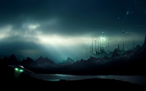 Picture mountains, night, river, planet, UFO, station