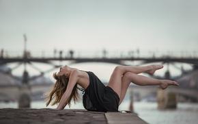 Picture girl, pose, river, mood, feet, promenade