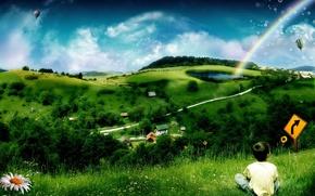 Picture children, green, rainbow, Hills
