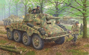Picture art, can, yourself, it, The second world war, armored car, for, German, fully, Puma, heavy, ...