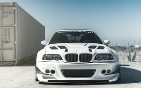 Picture white, bmw, BMW, white, tuning, front, e46