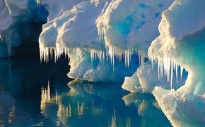 Wallpaper iceberg, water, ice, glacier