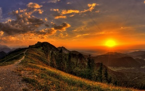 Picture the sky, grass, the sun, clouds, rays, trees, landscape, sunset, flowers, mountains, nature, trail, view, ...