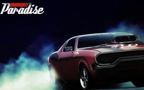 Wallpaper smoke, burnout paradise, reflection, car