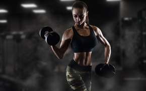 Wallpaper pose, shadows, female, fitness, dumbbells