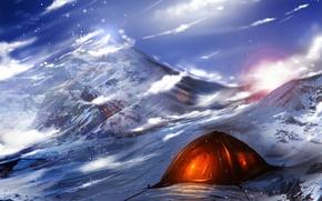 Wallpaper art, mountains, ryky, light, tent