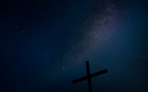 Picture stars, night, cross, the milky way
