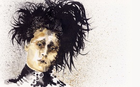 Picture Johnny Depp, hair, Johnny Depp, art, art, hair, Edward Scissorhands, Edward Scissorhands