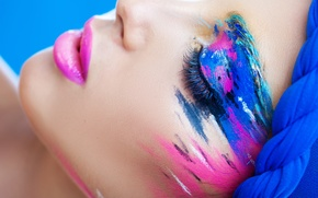 Picture eyelashes, style, paint, makeup, lips, shadows, closed eyes