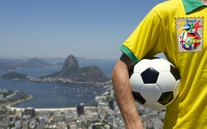 Picture the ball, t-shirt, logo, football, flag, World Cup, Brasil, FIFA