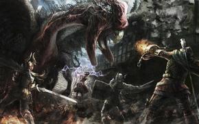 Picture Warrior, Game, Dragon's Dogma, Strider, Fighter, Sorcerer, Cockatrice