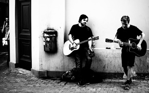 Picture music, garbage, wall, street, guitar, male, musicians, life, city, cell phone